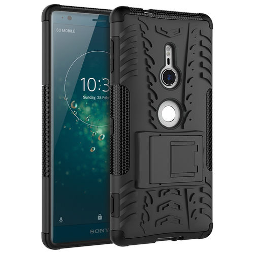 Dual Layer Rugged Tough Shockproof Case for Sony Xperia XZ2 - Black
